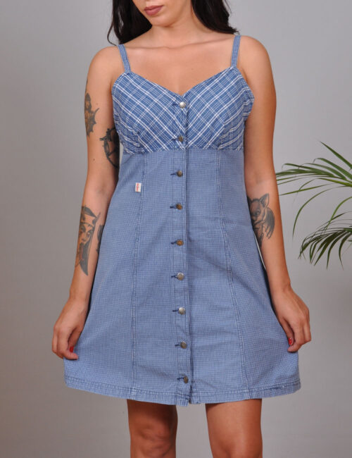 motel-vintage-store-Blue-Plaid-Mini-Dress