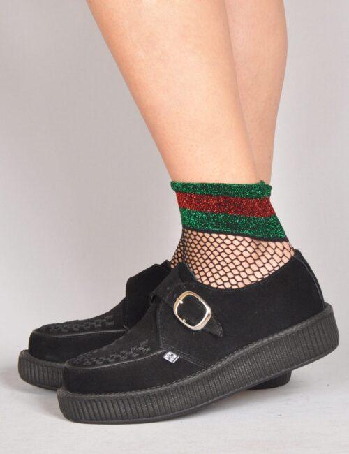 T.U.K. Shoes Black Suede Monk Buckle Viva Low Sole Creeper a0fc3e420